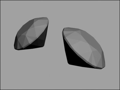 Diamonds rendered with the default setting of 3DS MAX