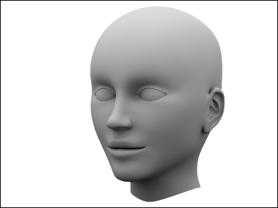 3D model of a human head in 3DS MAX