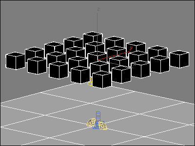 Grid of boxes are used as reflection objects in 3D MAX