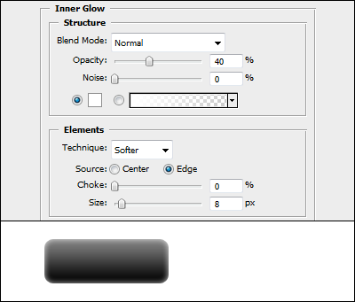 Inner Glow settings in Adobe Photoshop Blending Options