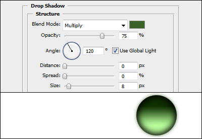 Drop shadow settings in Adobe Photoshop Blending Options