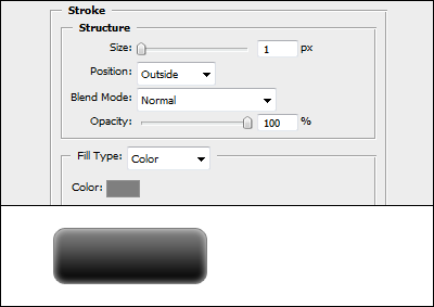 Stroke settings in Adobe Photoshop Blending Options