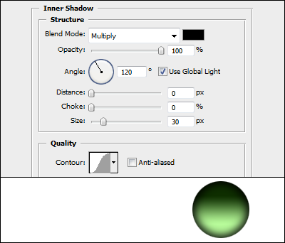 Round button with Inner Shadow effect
